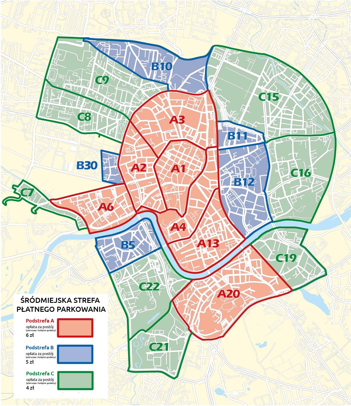 Mapa strefy Płatnego Parkowania w Krakowie - ujednolicenie oznaczeń w strefie